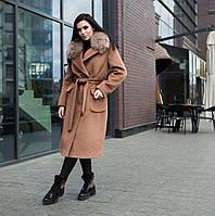 Пальто зимове жіноче коричневе з хутром, фото 1