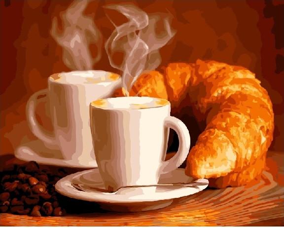 Кофе с круасаном (GX5740). Картины по номерам 40×50 см.