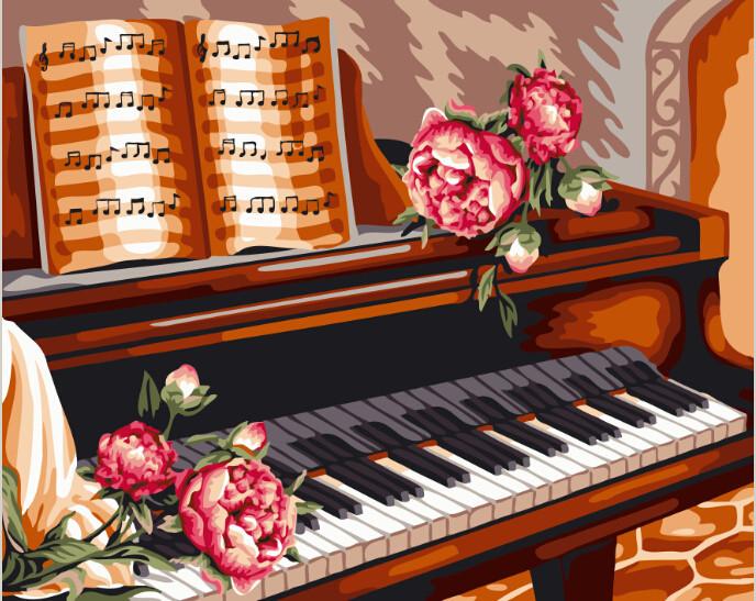 Розы и пианино (GX24082). Картины по номерам 40×50 см.
