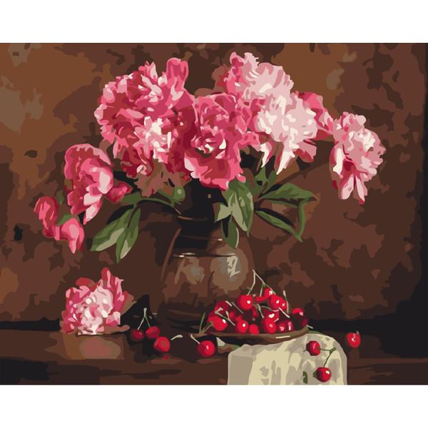 Пионы и вишни (GX4645). Картины по номерам 40×50 см.