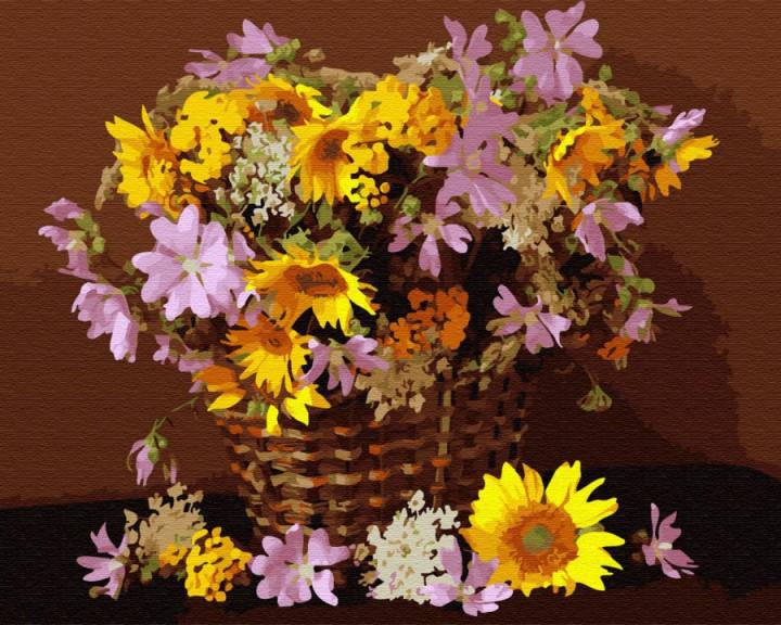 Цветочная корзина (GX34025). Картины по номерам 40×50 см.