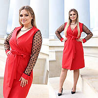 Платье женское на запах Норма+Батал (42-44, 46-48, 48-50, 50-52), Коктейльное платье с длинным рукавом сетка, фото 2