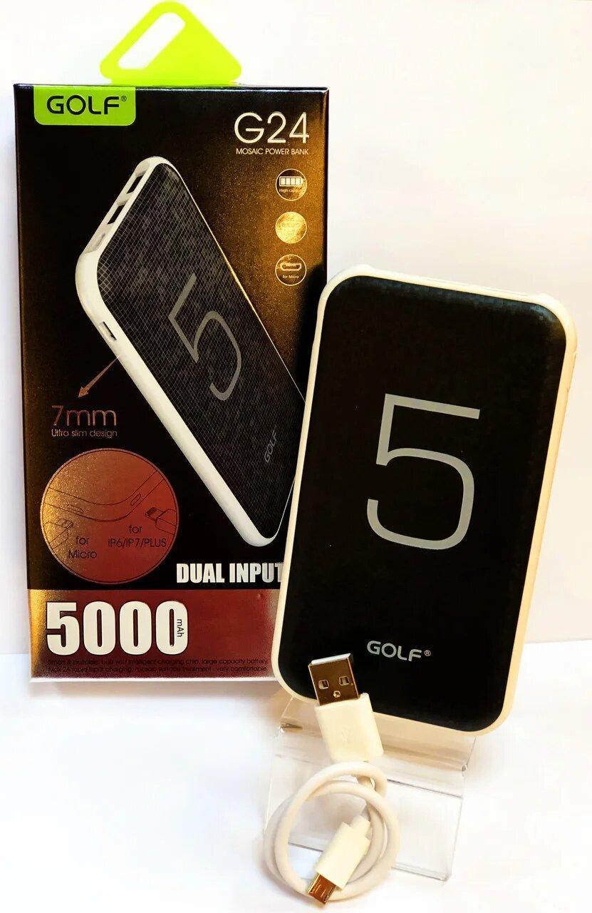 Купить Power Bank GOLF G24, Li-Polymer 5000 mAh, 2.1A 2 USB