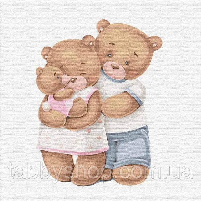 Картина по номерам Идейка - Счастливая семья медвежат
