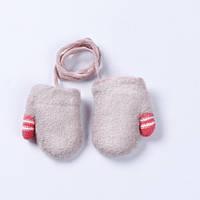 Варежки детские для новорожденных на верёвочке, розовые, фото 1