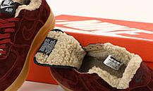 Зимние женские кроссовки Nike Air Force с мехом. Бордовые. ТОП Реплика ААА класса., фото 2