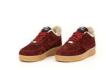 Зимние женские кроссовки Nike Air Force с мехом. Бордовые. ТОП Реплика ААА класса., фото 3