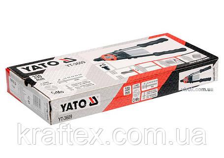 Заклепочник дворучний YATO для нітів Ø=3.2, 4, 4.8, 6, 6.4 мм 330 мм (YT-3609), фото 2