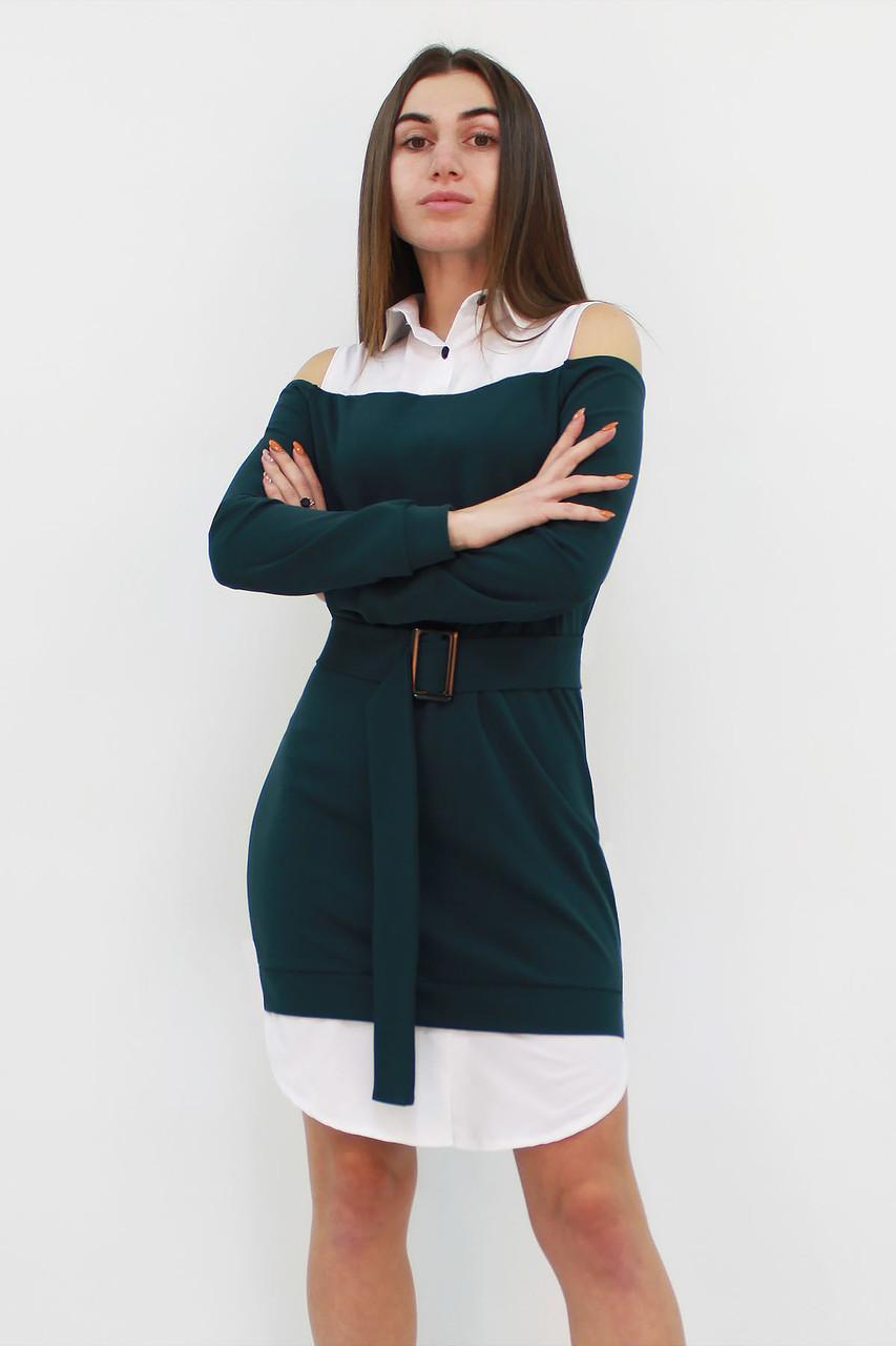 Комбинированное женское платье Lilit, темно-зеленый