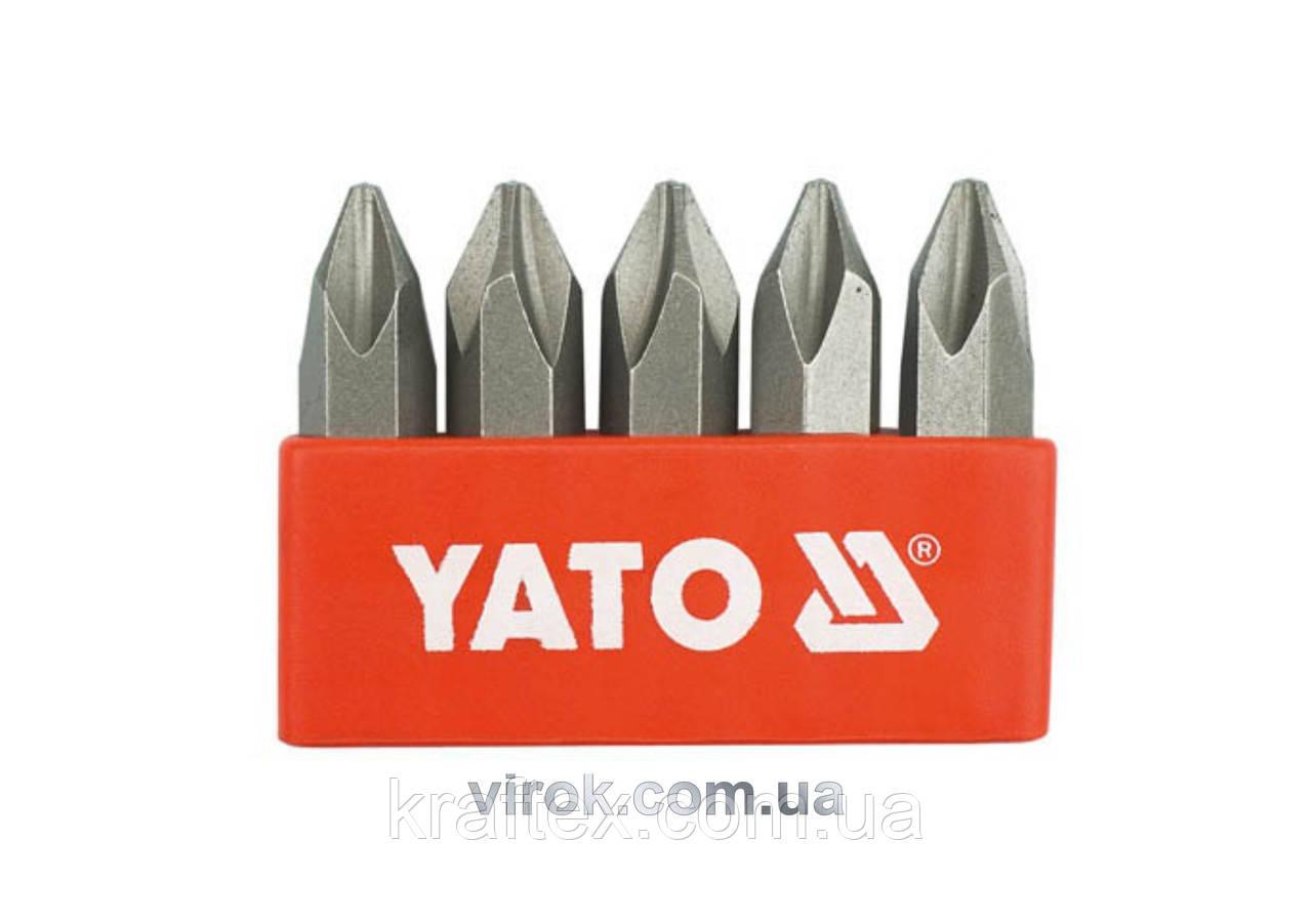 """Насадка викруткова ударна YATO 5/16"""" хрестова PH2 х 36 мм 5 шт (YT-2810)"""