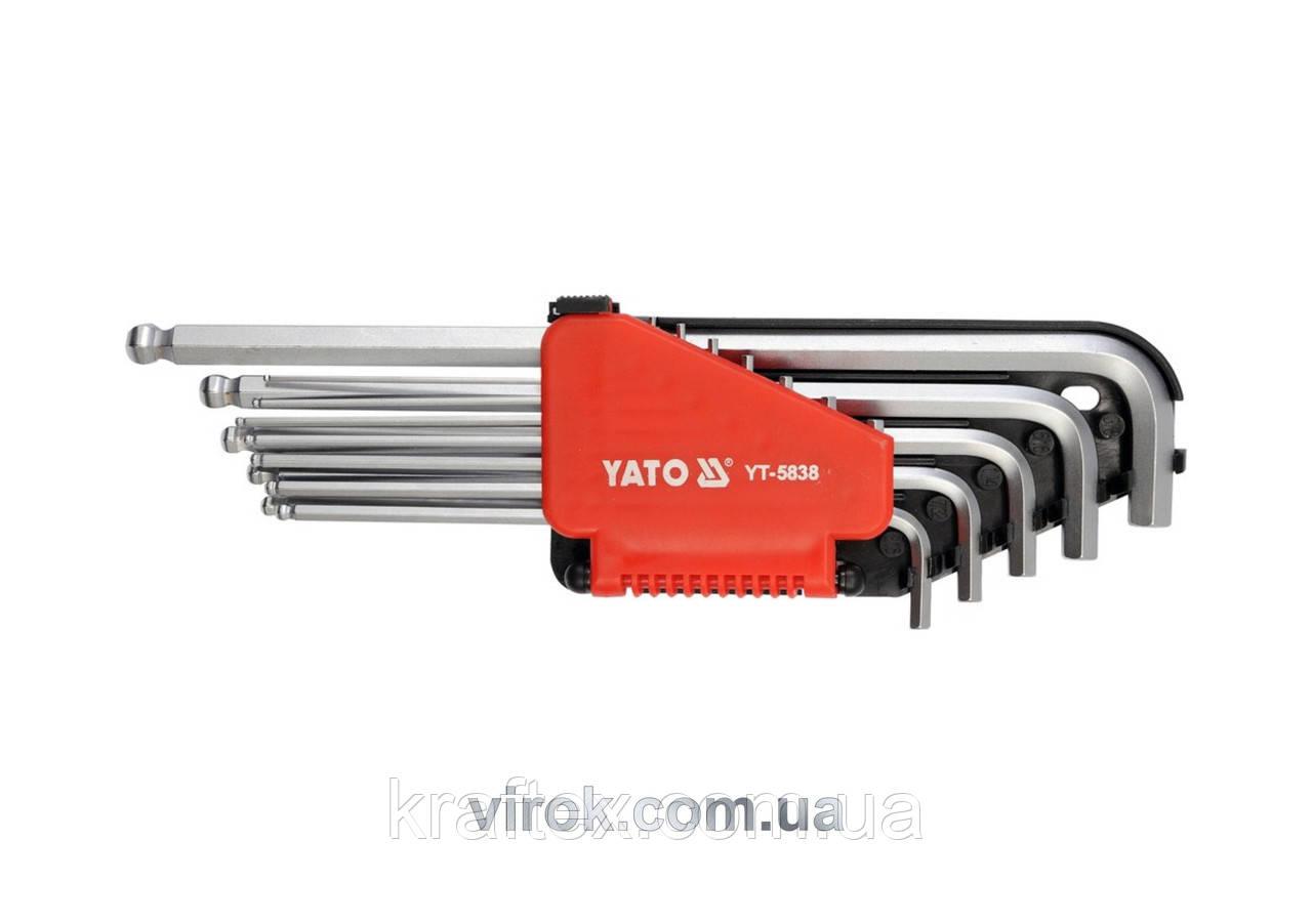 """Набір ключів шестигранних Г-подібних дюймових з кулькою YATO 1/16""""-3/8"""" 12 шт (YT-5837)"""