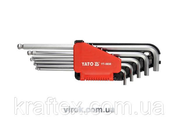 """Набір ключів шестигранних Г-подібних дюймових з кулькою YATO 1/16""""-3/8"""" 12 шт (YT-5837), фото 2"""