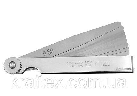 Щупи вимірювальні YATO 0.02 - 0.5 мм 100 мм 10 шаблонів (YT-7222), фото 2