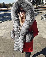 Парка с натуральным мехом чернобурки цвет красный, фото 1