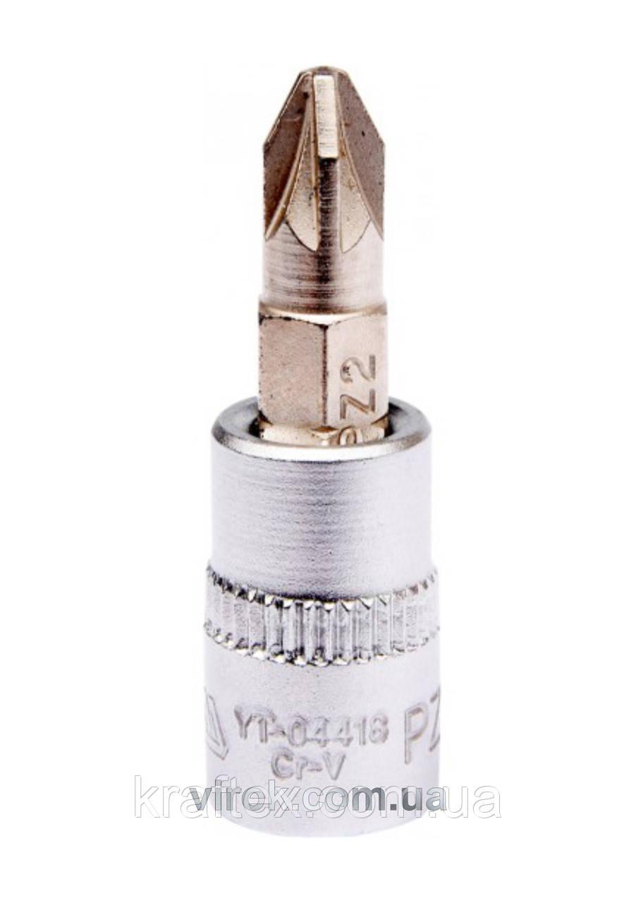 """Головка торцеві з насадкою викрутковою POZIDRIV YATO 1/4"""" PZ2 х 37 мм (YT-04418)"""