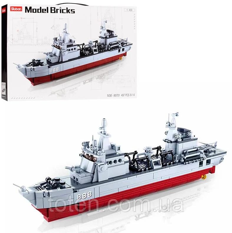 """Конструктор Sluban """"Военный корабль""""  Model Brick M38-B0701, 497 деталей"""