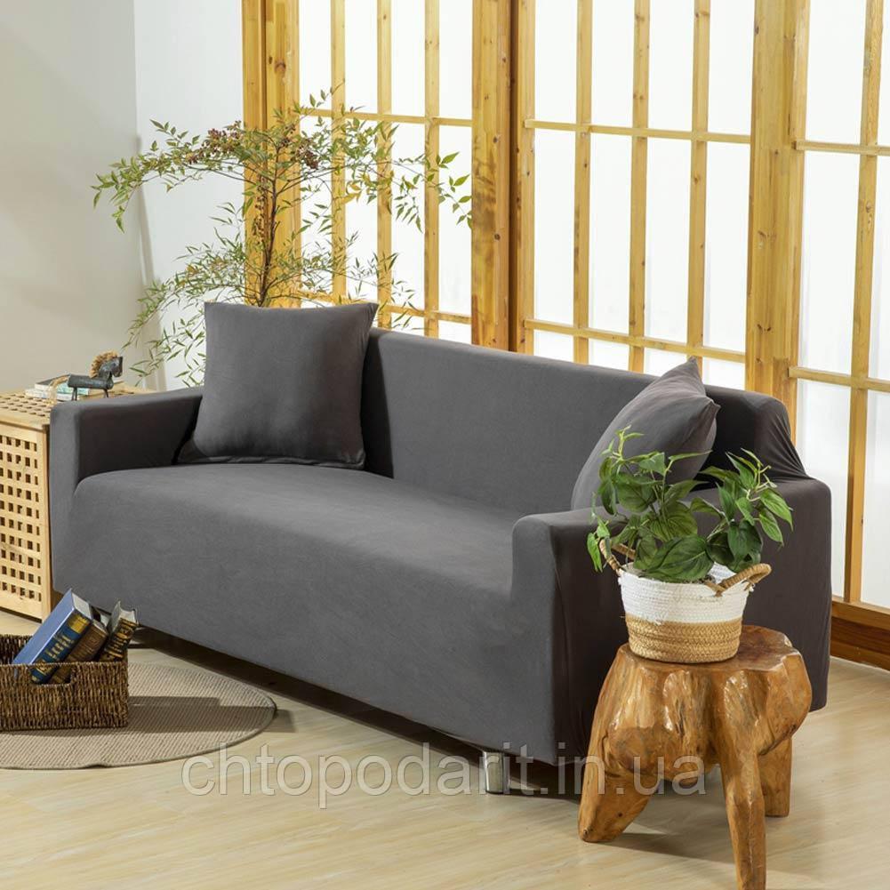 Чехол на диван универсальный для мебели цвет серый 140-175см  Код 14-0610
