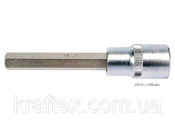 """Головка торцеві з насадкою викрутковою HEX YATO 1/2"""" H10 x 100 мм (YT-04395), фото 2"""