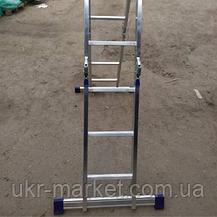 Шарнірна універсальна драбина трансформер чотирьохсекційна 3 на 4 ступені, фото 2