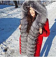 Парка с натуральным мехом чернобурки цвет красный
