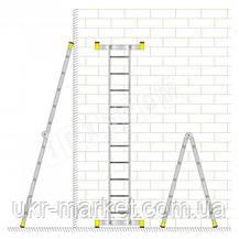 Лестница алюминиевая двухсекционная универсальная 2 х 7 ступеней, фото 3
