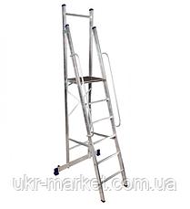 Стремянка с поручнями профессиональная на 6 ступеней алюминиевая, фото 2