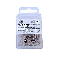 Wedge, 100 шт в упаковке, клинья деревяные фиксирующие, Latus 1,5 х 1,5 х 13 мм