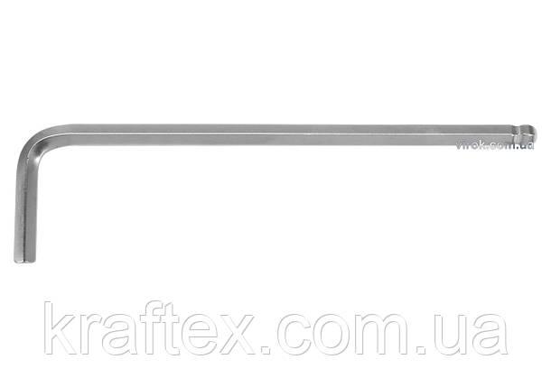 Ключ шестигранний Г-подібний з кулькою YATO HEX 5 х 28 х 188 мм (YT-05456), фото 2