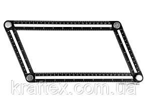 Шаблон-лінійка для перенесення вимірів алюмінієвий YATO 250 х 150 мм (YT-70880), фото 2