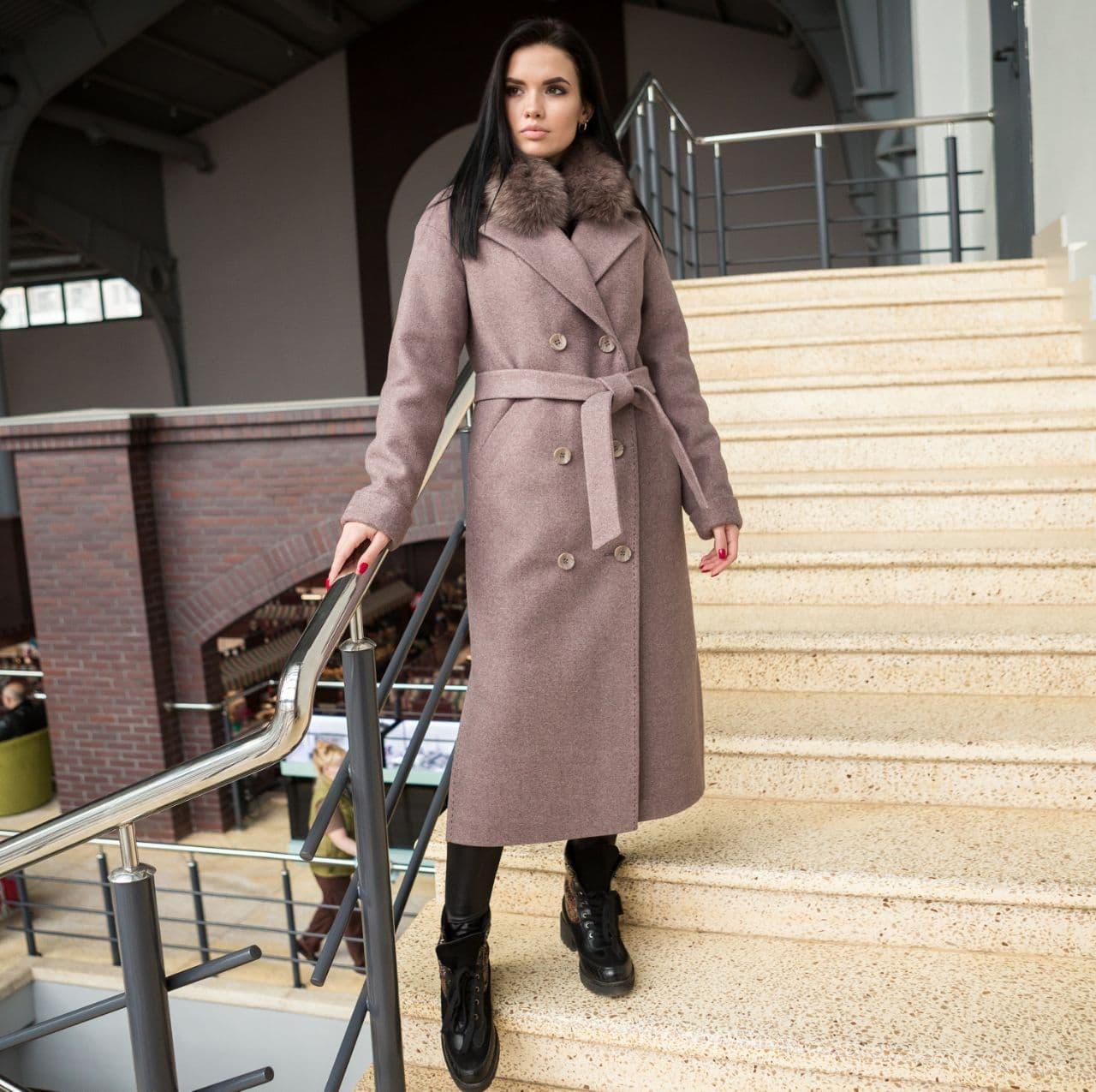 Пальто зимнее женское с мехом капучино