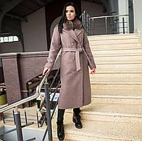 Пальто зимнее женское с мехом капучино, фото 1