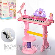 Детское пианино-синтезатор  53 см 37 клавиш 888-20 на ножках со стульчиком,  микрофон, запись, свет, от сети