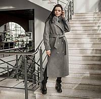 Пальто зимове жіноче з хутром cіре, фото 1