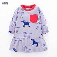 Трикотажное платье на девочку в лошадки Little maven