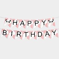 Гирлянда бумажная Happy birthday Розовая Панда