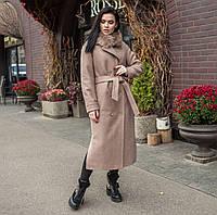 Пальто зимнее женское с мехом бежевое, фото 1