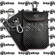 Чехол Фарадея, антисканер, противоугонный чехол Honda (Хонда) (кожаный, под карбон, черный, на липучке)
