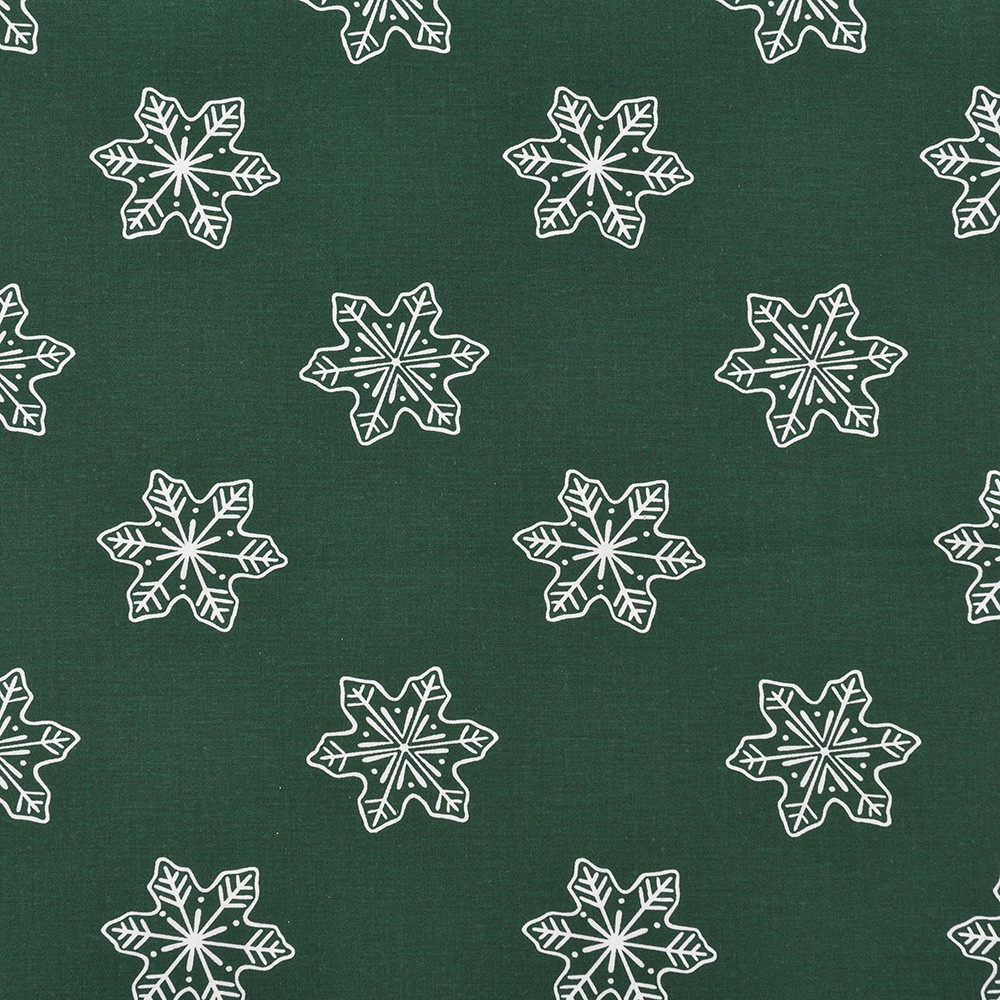 Отрез хлопковой ткани Снежинки на темно-зеленом 30х160 см