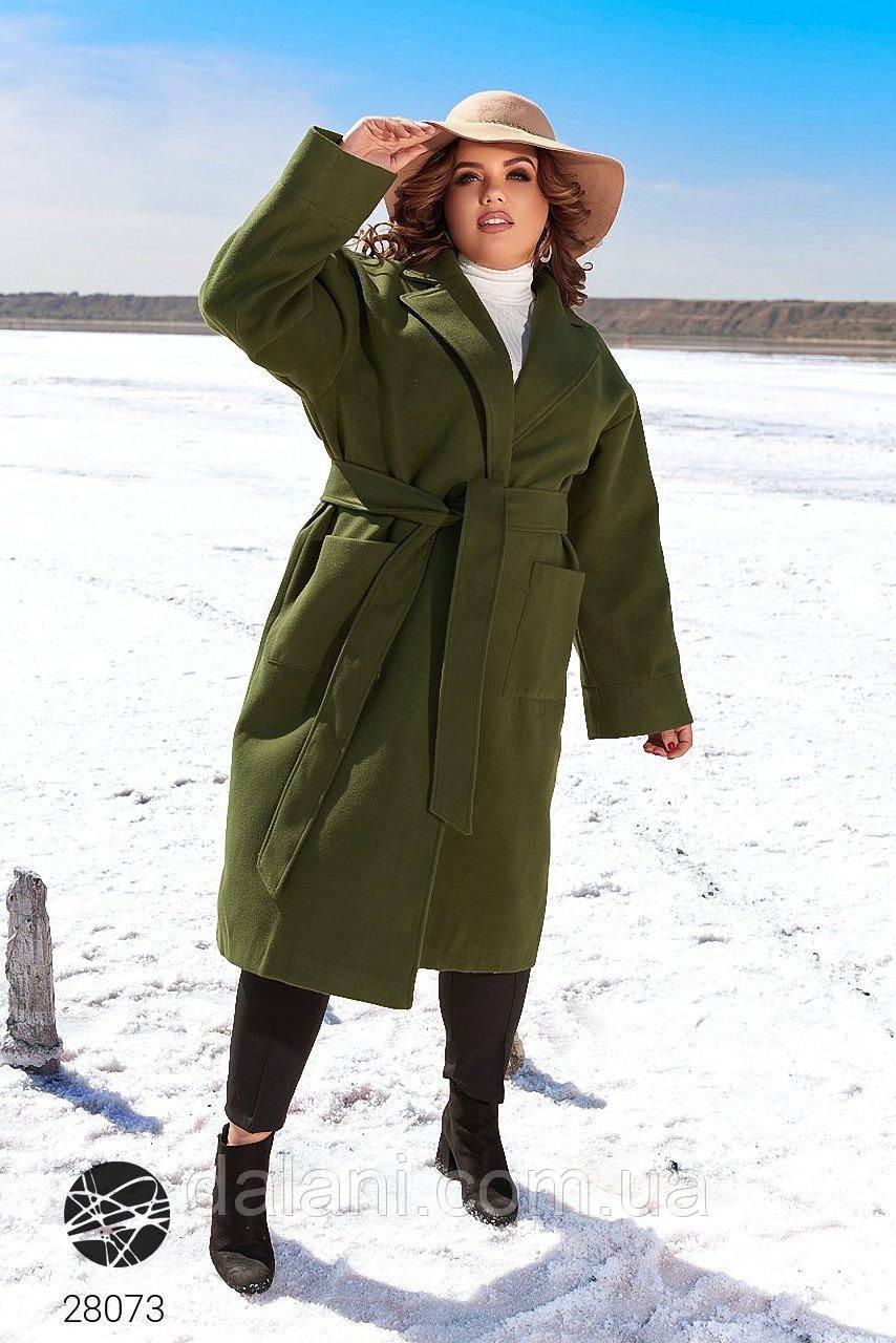 Кашемировое женское пальто хаки миди с накладными карманами