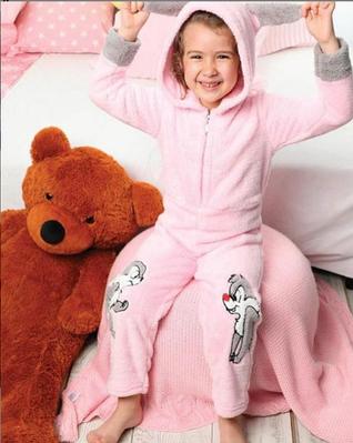 Дитяча піжама флісова КІГУРУМІ Турція з довгим рукавом і принтом кролик Olivia pink