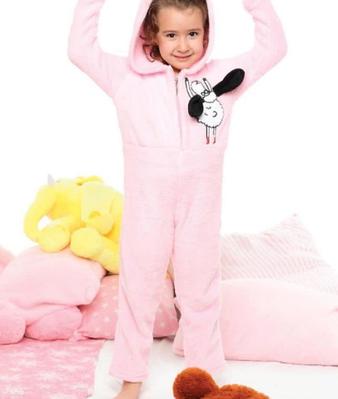 Дитяча піжама флісова КІГУРУМІ Турція з довгим рукавом і принтом овечка Olivia pink