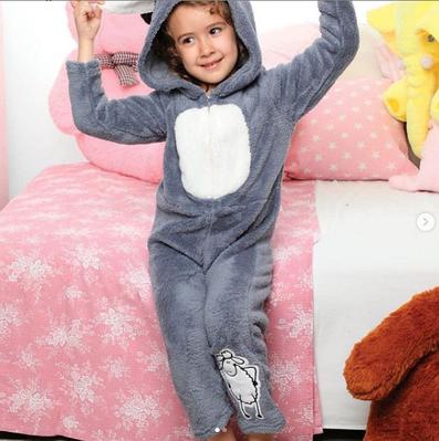 Дитяча піжама флісова КІГУРУМІ Турція з довгим рукавом і принтом овечка Olivia grey