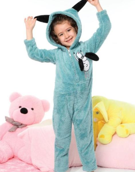 Дитяча піжама флісова КІГУРУМІ Турція з довгим рукавом і принтом овечка Olivia blue