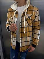 Теплая рубашка мужская на овчине Lambo в клетку горчичная | кофта ЗИМНЯЯ ЛЮКС качества