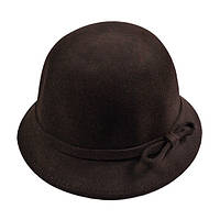 Шляпа женская с небольшими полями фетровая, коричевая