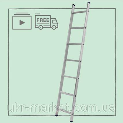 Алюмінієва сходи односекційні приставні на 7 ступенів, фото 2