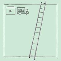 Алюминиевая односекционная приставная лестница на 11 ступеней