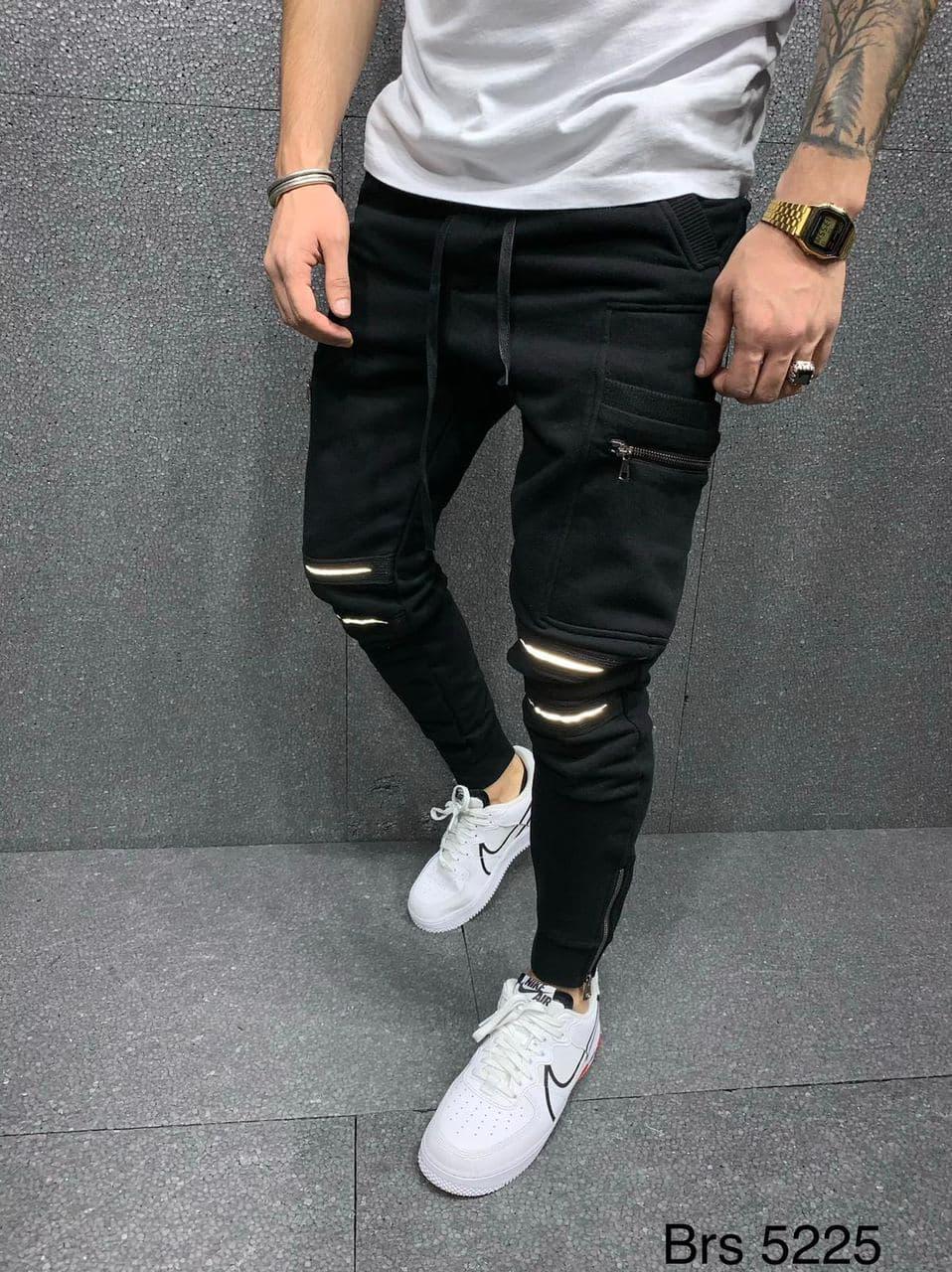 Мужские спортивные штаны 2Y Premium P5225 black reflective