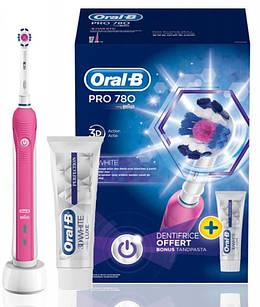 Електрична зубна щітка Braun Oral-B Pro 780 Pink з насадкою 3D White + паста
