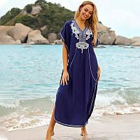 Красивая длинная пляжная накидка-платье синего цвета с вышивкой